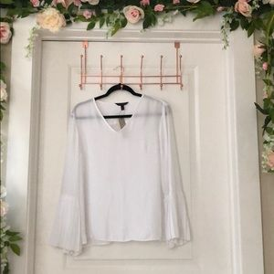 White Blouse with Trumpet Sleeves